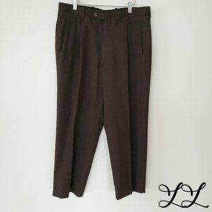 Vintage Pants Brown Wool Gala Pleated Straight Leg